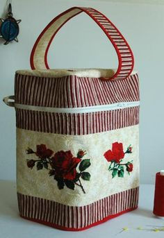 Advanced Embroidery Designs. Quilted Craft Basket with Embroidery