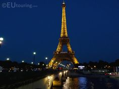 The Eiffel Towers lights as shown from near the Pont d'Lena bridge that goes across the River seine through Paris.  http://www.eutouring.com/