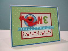 Handmade Elmo themed first birthday card