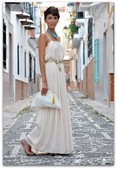 women fashion style clothing outfit dress maxi handbag white belts necklace blue sandals