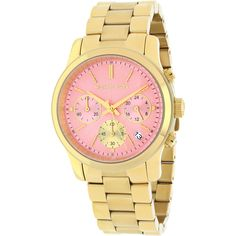 Michael Kors Women's MK6161 Runway Round Goldtone Bracelet Watch ($220) ❤ liked on Polyvore featuring jewelry, watches, stainless steel wrist watch, goldtone jewelry, michael kors bracelet, bracelet jewelry and bracelet watches