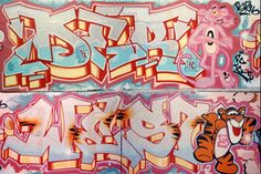 Two timeless pieces painted by Dero and Westo incorporating Tigger and The Pink Panther at the NYC Graffiti Hall of Fame.