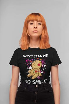 Smiles are beautiful, but shouldn't be demanded of anyone. This T shirt is is a cool and funny way to just show your mood but also for all feminists to make a statement by wearing it on women's rights gatherings or women's march to stop street harassment. Street Harassment, Powerful Women, Women Empowerment, Feminism, How To Make, How To Wear, Women's Rights, Street Style, T Shirts For Women