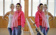 Afghan student Kobra Dastgirzada, center, poses with her mentor Andrea Mason at Barre3 fitness center. The mentorship is part of the Peace Through Business program of the Institute for Economic Empowerment of Women (IEEW). Photo by Chris Landsberger, The Oklahoman