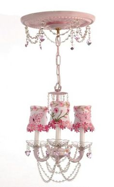 Pink Floral Chandelier by Gilbert Designs, Pink Kids Chandelier, Pink Chandelier for Nursery