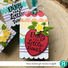 Tag by Tricia Barber. Reverse Confetti stamps: Elemental Stripes, Berry Sweet. Confetti Cuts: Berry Sweet, Round Top Tag.