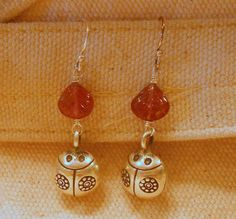 Ladybug Silver Bell Earrings with Pink Tourmaline by bedorah, $22.00