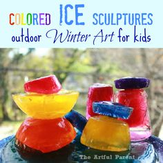 Colored Ice Scultpures :: Outdoor Winter Art for Kids