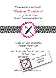 beauty school cosmetology graduation announcement and invitation