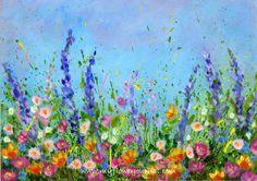 Splattered Paint Flower Garden Painting-no drawing needed-myflowerjournal.com