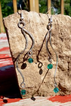 Hand Textured Silver Wire Dangle Earrings with Teal Green Faceted Beads by UniquelyBYouTifulU on Etsy