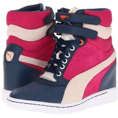 PUMA Sky Wedge LC Wn's (1.000 ARS) ❤ liked on Polyvore featuring shoes, sneakers, wedges, dark denim, sneakers & athletic shoes, sports shoes, wedges shoes, platform wedge sneakers, hidden wedge heel sneakers and platform shoes