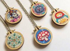 Suosaari on Etsy - mini embroidery hoop necklaces - mandala, mushroom, matroyshka, day of the dead.