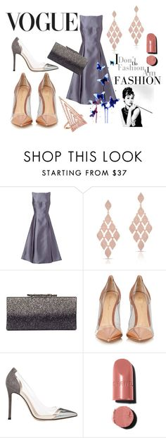 """""""Vogue"""" by danai-babali ❤ liked on Polyvore featuring Adrianna Papell, Anne Sisteron, Jimmy Choo, INDIE HAIR, Gianvito Rossi, Luxo, Chanel and Everest"""