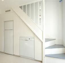 staircase solutions for small spaces - Google Search ~In my very small home, I created space for full-size fridge, microwave, toaster oven and storage under stairs on the kitchen and dining side; on the living room side, floor to ceiling bookcases house books and provides space to tuck away tons of space-hogging media components~