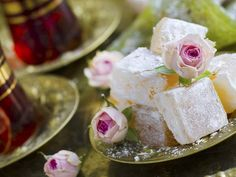 Traditional recipe for Lokum. One of the hallmarks of Turkish cuisine, rahat lokum — also known as lokum or Turkish delight — is a delicate, jelly-like dessert which comes in a variety of colors and flavors Nougat Recipe, Turkish Delight, Baking Tins, Good Housekeeping, Turkish Recipes, Candy Shop, Food Dishes, Baked Goods, Food And Drink
