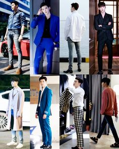 Lee Jong Suk's wardrobe in W: Two Worlds was freaking flawless! My favorite is the royal blue suit and the black and white checkered one! Asian Actors, Korean Actors, W Korean Drama, Attractive Male Actors, Lee Jong Suk Wallpaper, Hyde Jekyll Me, Kang Chul, Lee Jung Suk, Good Looking Actors