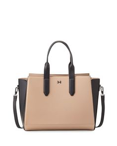 Leather+East-West+Satchel+Bag,+Ash/Black+by+Halston+Heritage+at+Neiman+Marcus+Last+Call.