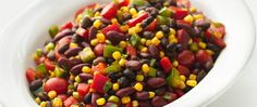 15% fewer calories • 30% less fat • 68% more vitamin A than the original recipe.  Bean salad gets sassy and healthier, too.