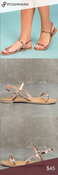 """Rose Gold Sandals With these Rose Gold Flat Sandals, simplicity has never been more perfect! Metallic vegan leather shapes a peep-toe upper and matching, adjustable quarter strap, with shiny gold buckle. 0.25"""" rubber heel. Lightly cushioned insole. Rubber nonskid sole. All vegan friendly, man made materials. Boutique Shoes Sandals"""