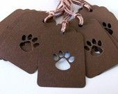Gift Tags - Here a Paw Print, There a Paw Print - Chocolate Brown (Set of 10)