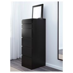 MALM Chest of 6 drawers, black-brown, mirror glass, 40x123 cm - IKEA