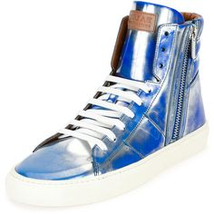 Bally Hensel Fluorescent Leather High-Top Sneaker ($595) ❤ liked on Polyvore featuring men's fashion, men's shoes, men's sneakers, blue, mens blue shoes, mens leather high top shoes, mens high top sneakers, mens blue leather shoes and mens black leather high top sneakers