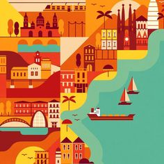 Hola! Travel to Spain with this map we illustrated for Monocle #map #illustration #travel #Muti