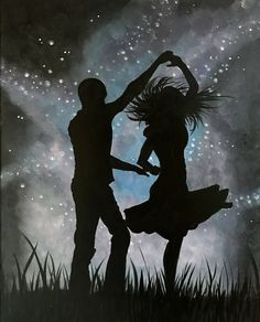 Dancing with the Start Sillouette Painting, Love Painting, Acrylic Painting Canvas, Romantic Artwork, Romantic Paintings, Art Drawings Sketches, Cute Drawings, Dance Silhouette, Dancing Couple Silhouette