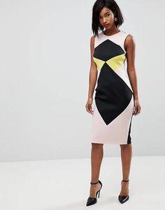 d438da09412831 ASOS Midi Pencil Dress in Colour Block Going Out Dresses
