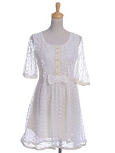 S/M Fit Beige Vine and Leaves Lace Overlay Ruffle and Bow Trim Dress #AnnaKaci #Regular