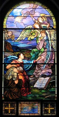Joseph Lauber | Sermon on the Mount, 1915 | Leaded glass | Evangelical Lutheran Church of the Holy Trinity, Lancaster, PA     (Window post-dates Lauber's employment with Tiffany)