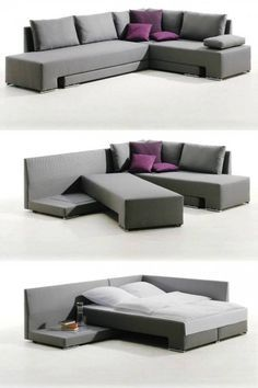 20 Pieces of Convertible Furniture You'll Actually Use Corner Suite Vento (price upon request): Here's a spacious corner couch that can easily be transformed into one double bed or two twin beds, making it the perfect piece for those who love to entertain Space Saving Furniture, Cool Furniture, Living Room Furniture, Living Room Decor, Furniture Design, Furniture Ideas, Modern Furniture, Rustic Furniture, Antique Furniture