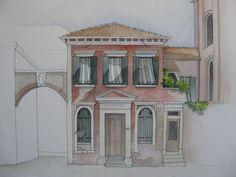 Maison sur le Campo San Alvise. Venise. Dessin et aquarelle sur le motif.
