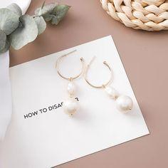 l Metal Long Tassel Drop Earrings Sweety Jewelry For Women Pendientes Gift - two pearls Tassel Drop Earrings, Silver Hoop Earrings, Crystal Earrings, Dangle Earrings, Fine Jewelry, Women Jewelry, Druzy Jewelry, Earring Trends, Sterling Silver Hoops