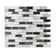 Smart Tiles 9.125 in. x 10.25 in. Multi-Colored Metallic Mosaic Peel and Stick Decorative Wall Tile in Murano-SM1030-1 at The Home Depot