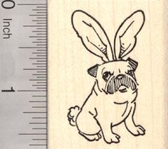 Easter Pug Rubber Stamp in Bunny Rabbit Ears -- Click on the image for additional details.