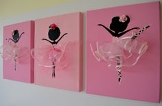 Dancing Ballerinas Wall Art. Set of three pink dancing