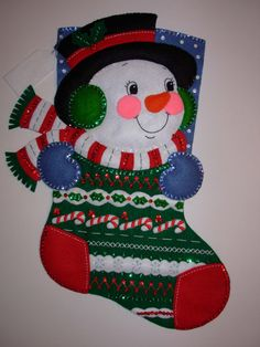Snowman - From an out of print Bucilla kit, this stocking measures 18 from hanger to toe.