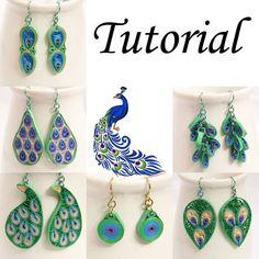 Tutoriel PDF pour papier Quilled Peacock bijoux - boucles d'oreilles et pendentifs - Télécharger Instant | Quilling de miel