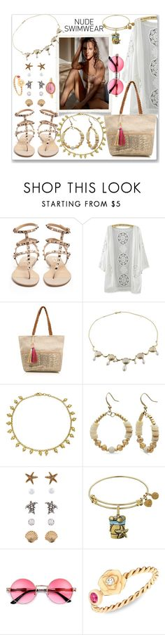 """""""Bare It All: Nude Swimwear"""" by slynne-messer ❤ liked on Polyvore featuring Valentino, George, Bling Jewelry, Kim Rogers, Accessorize, Piaget and Helen Ringus"""