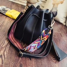 Fashion Embroidered Strap Bucket Bag 5680820c334be