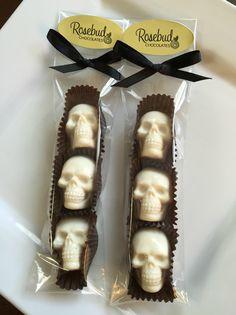 White Chocolate Skulls Candy Party Favors, Halloween Treats www.rosebudchocolates.com