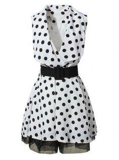 Polka Dot Lace Bottom Dress With Belt