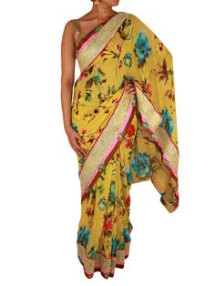 Yellow Floral Printed Chiffon Saree with Mat Patterned Golden Border – Sweta Sutariya