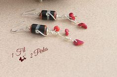 Earrings Pendants Glass Beads Tube Blue Red and White Charm