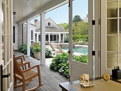 Southern Porch, Cape Cod home. - love doors, porch area to pool
