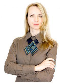 Крос-галстук з вишивкою Росава