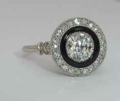 French Art Deco Platinum, Diamond, & Onyx Engagement Ring from beaconhilljewelers on Ruby Lane