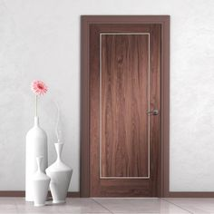 Bespoke Varese Walnut Flush Fire Door with Aluminium Inlay - 1/2 Hour Fire Rated - Prefinished.  walnutdoor #moderndoor #bespokedoor #firedoor #firedoortoorder